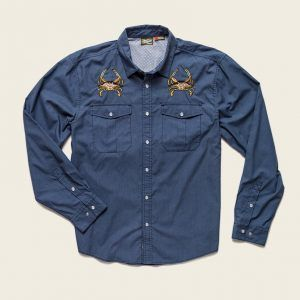 Howler Bros Gaucho Snapshirt – Midnight Blue Crab