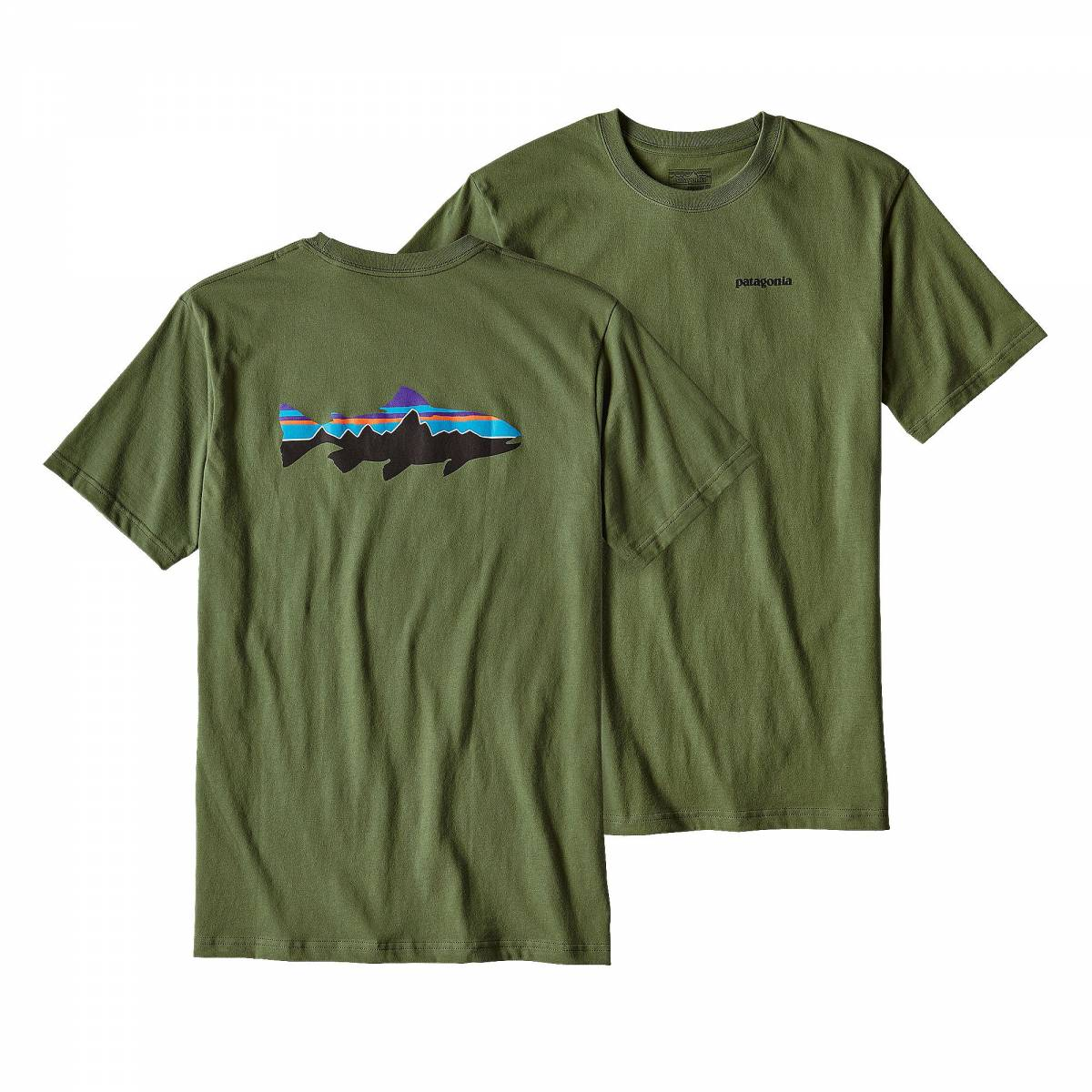 Patagonia fitz roy trout cotton t shirt fatigue green for Patagonia fly fishing shirt